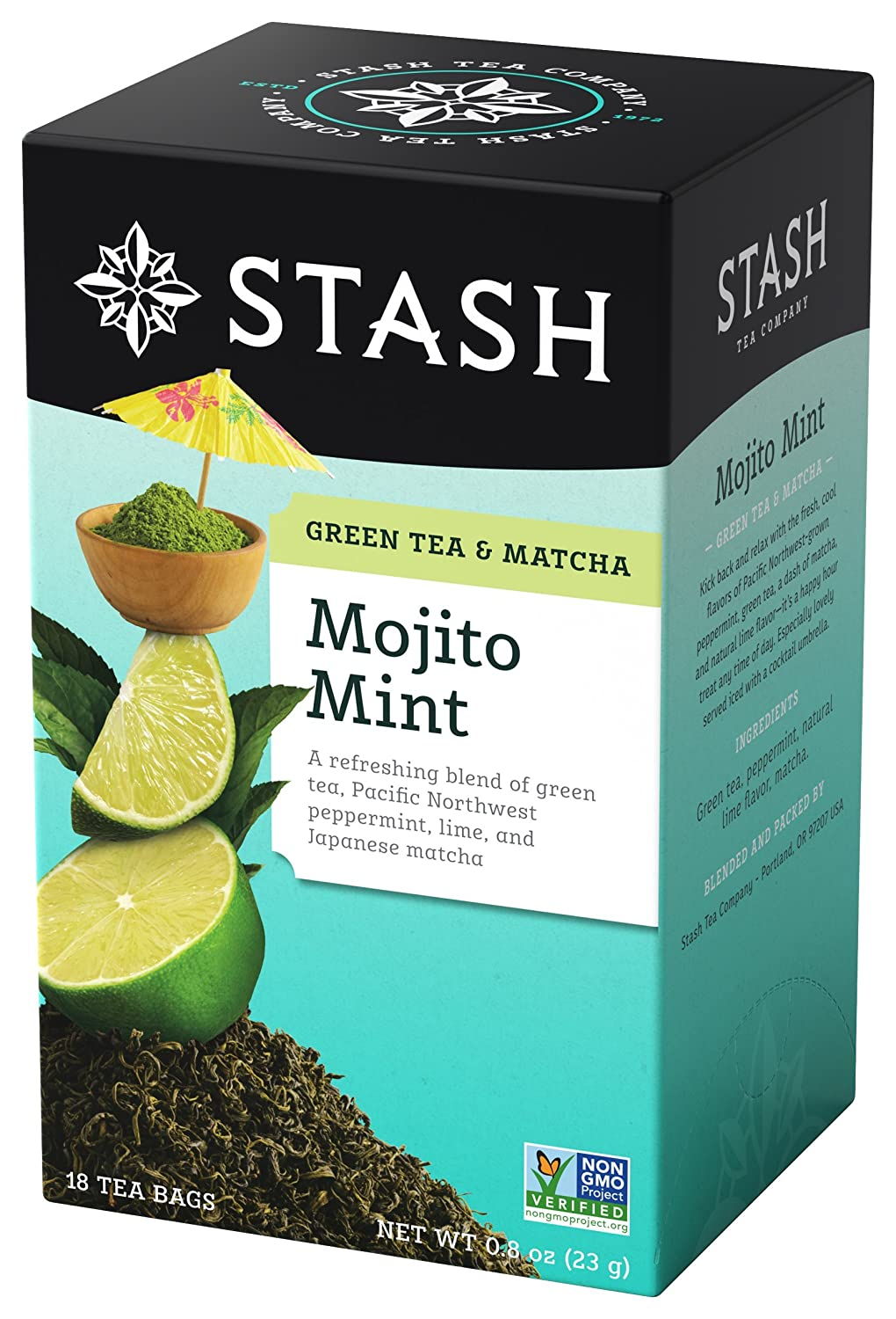 Stash Tea Mojito Mint Green Tea & Matcha Blend 18 Count Tea Bags in Foil (Pack of 6) (Packaging May Vary) Individual Green Tea Bags for Use in Teapots Mugs or Cups, Brew Hot Tea or Iced Tea