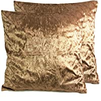 Starex Pair of Large Plain Crush Velvet Cushion Covers 10 Colours
