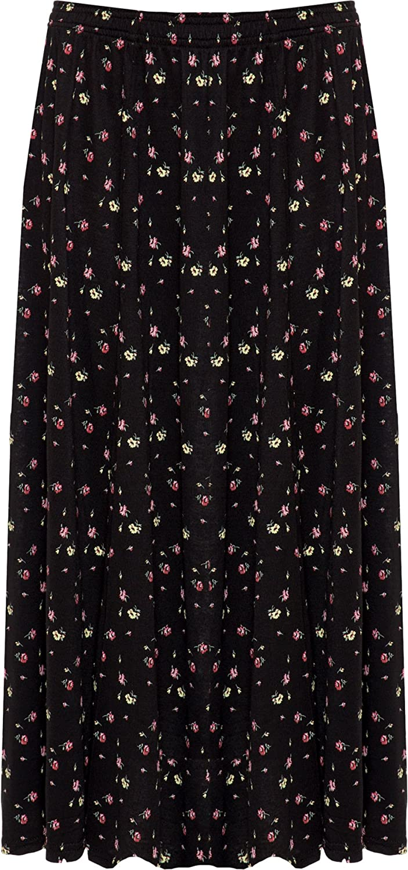 WearAll Womens Plus Floral Print Skirt Elasticated Stretch Waist Midi Length 16-30