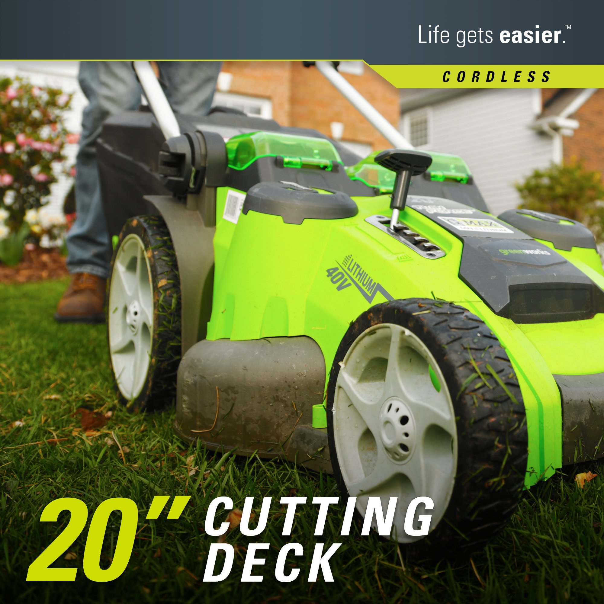 Greenworks 20-Inch 40V Twin Force Cordless Lawn Mower, 4.0 AH & 2.0 AH Batteries Included 25302 by Greenworks (Image #3)