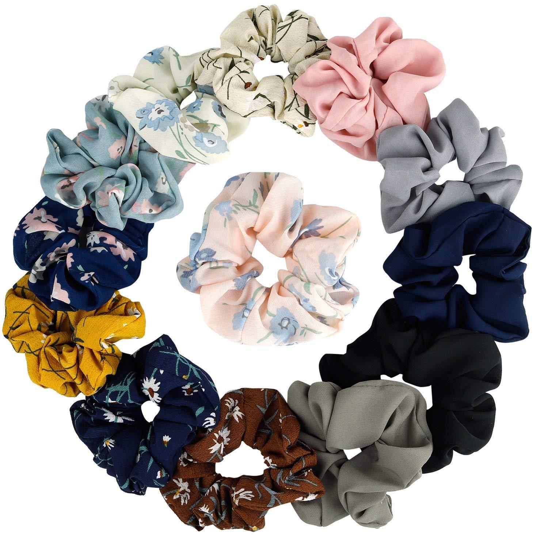 14Pcs Women's Chiffon Flower Hair Scrunchies Hair Bow Chiffon Ponytail Holder, including 8 Colors Chiffon Flower Hair Scrunchies and 6 Solid Colors Chiffon Hair Ties IRCtek