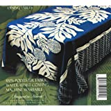 Hawaiian Tropical Fabric Tablecloth 60-inch By 84-inch (Blue Color)