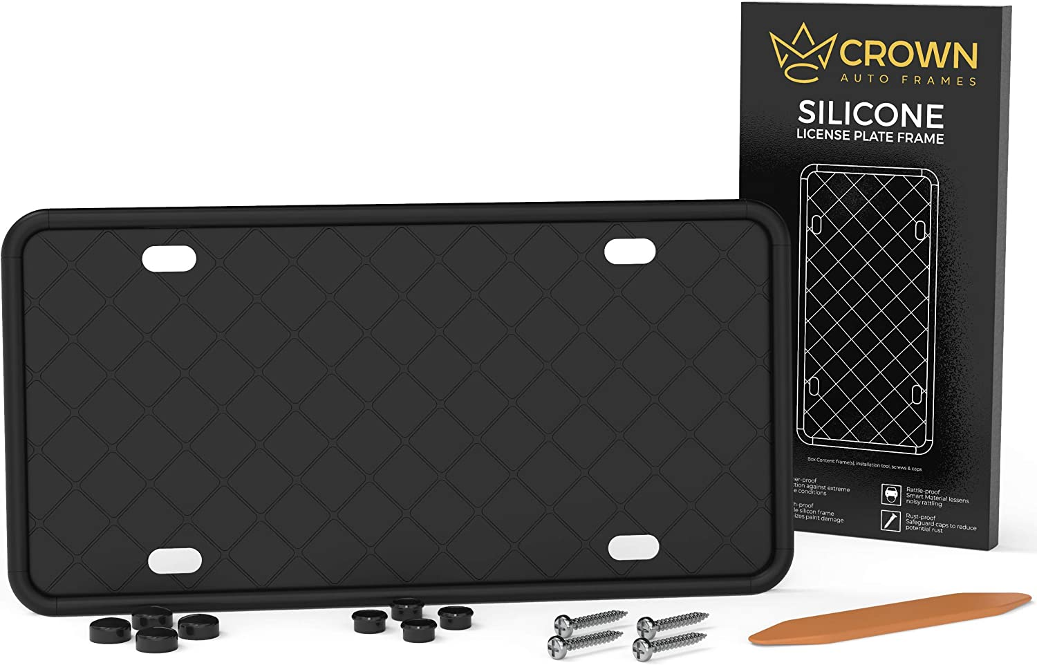 Crown Auto Frames Silicone License Plate Frame - Black License Plate Frame with Drainage Holes and Screws | Front or Rear License Plate Holder