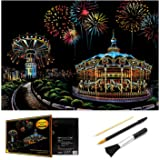 Scratch Art Rainbow Painting Paper, Sketch Pad DIY Night View Scratchboard for Kids & Adults, Engraving Art & Craft Set, Scra