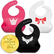 Kids N' Such Baby Bibs for Girls 3 Pack - 100% Food Grade Silicon - Waterproof with Food Catcher - Easy Clean - Anti Bacterial, Anti Microbial, Dishwasher Safe - Cute Designs for Your Baby Girl