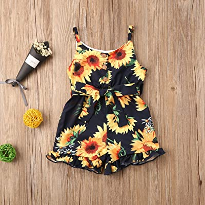 Toddler Kids Girls Floral Halter Short Romper Sleeveless One Piece Jumpsuit Summer Outfit Clothes