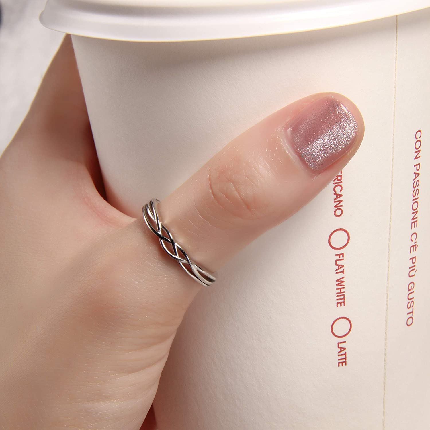 925  Silver Ring Statement Ring Silver Ring Dainty Ring Twisted Band Ring Thumb Ring Promise Ring Plain Silver Ring Handmade Ring