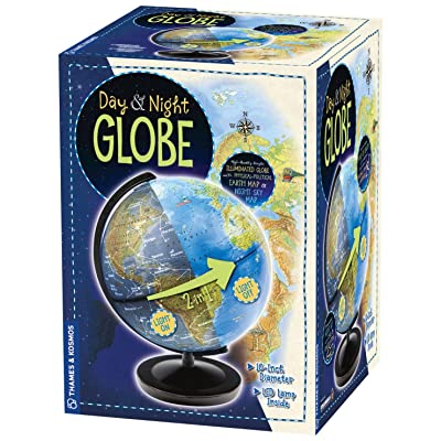 Thames & Kosmos Day & Night Globe - Handcrafted, Acrylic - Made in Germany by Columbus Globes - 10 inch, Illuminated LED Light-up with Night Sky Constellation Map: Toys & Games