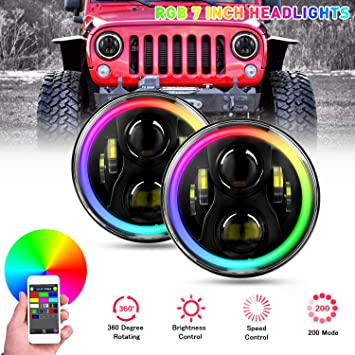 "7/""RGB LED Headlight Halo Angle Eye For Jeep Wrangler TJ JK Hummer H1 H2 Headlamp"