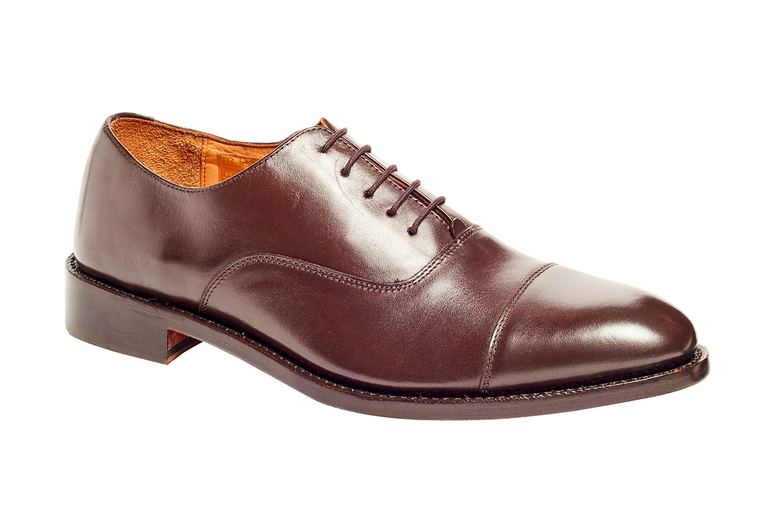 Anthony Veer Mens Clinton Cap-Toe Oxford Leather Shoe In Goodyear Welted Construction (10 D, Brown)