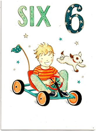 Childrens Birthday Card For Six 6 Year Old Boy