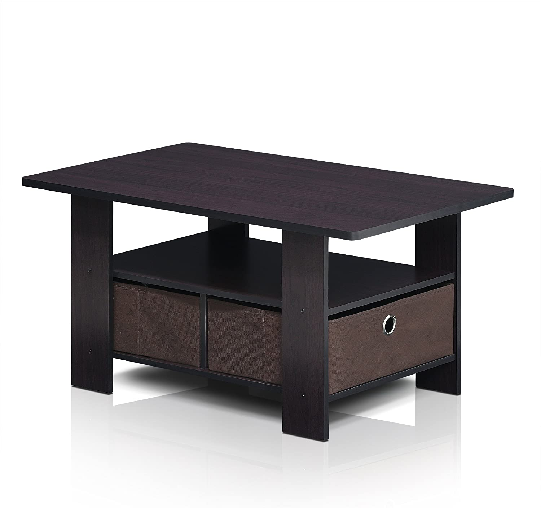 FURINNO Andrey Coffee Table with Bin Drawer, Dark Walnut