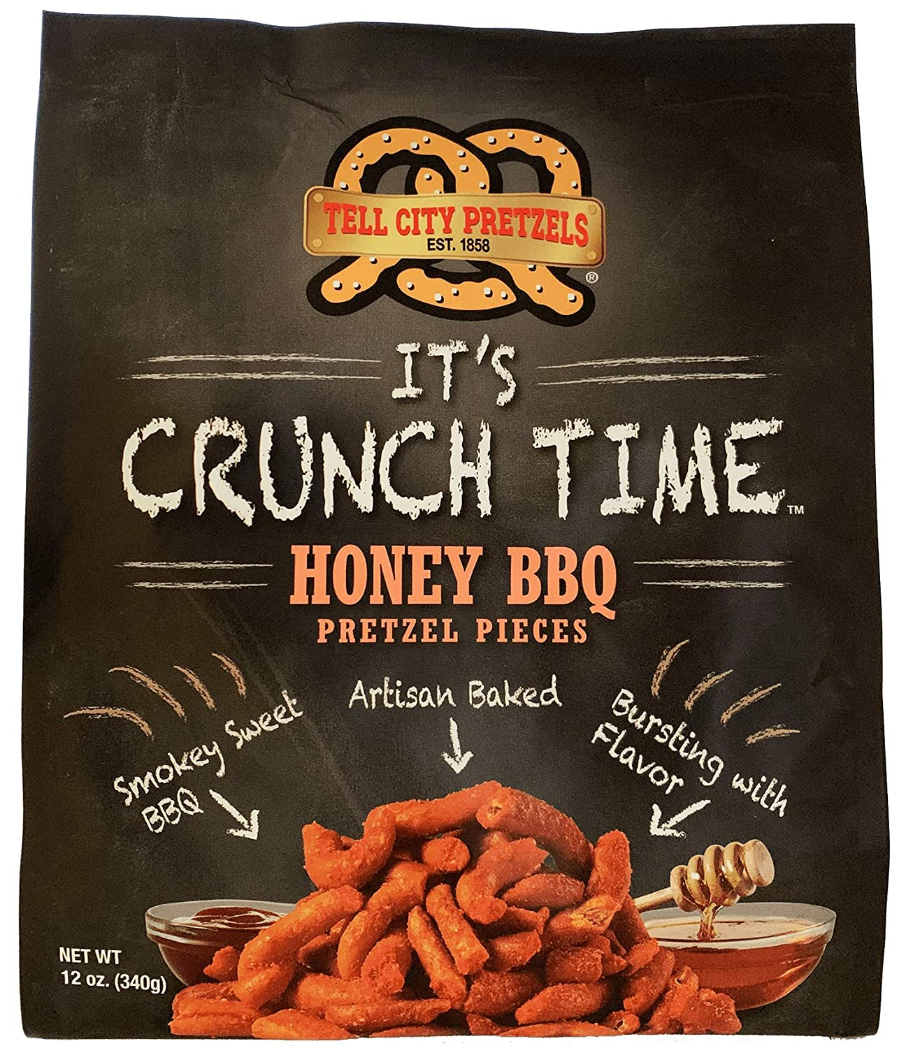 Tell City Honey BBQ Flavored Pretzel Pieces - Homestyle Crunchy Hard Pretzels - Honey BBQ, 12 oz