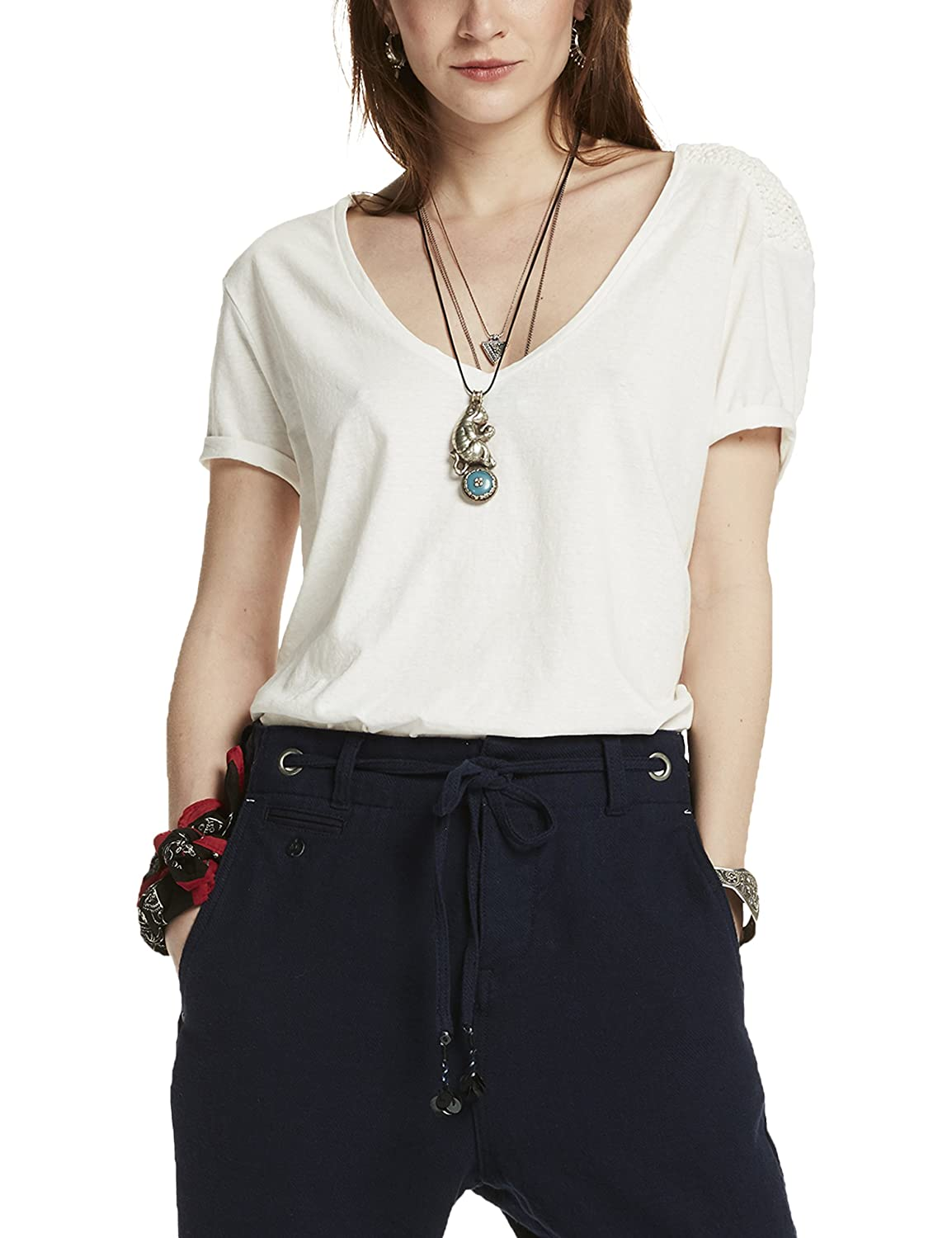 Maison Scotch Damen T-Shirt Short Sleeve Tee with Macrame Shoulder Detail