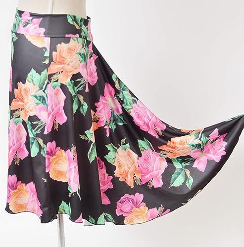 Fabulosa falda de tango floral bastante negra con tela en cascada ...