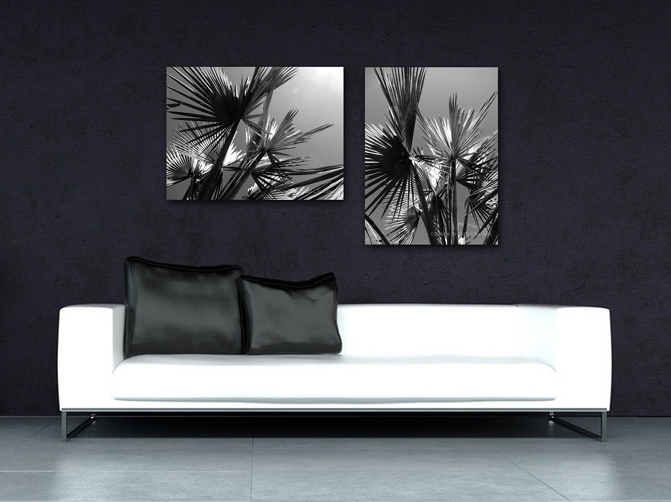 Asymmetrical Set of Two Palm Tree Photos on CANVAS Black and White Photographic Prints Gray Wall Decor for Home or Office Bold Monochromatic Art Ready to Hang 8x10 8x12 11x14 12x18 16x20 16x24 20x30