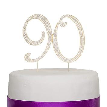 Kuchendekoration Mit Der Nummer 90 In Goldener Farbe Für Den 90zigsten Geburtstag Oder Als Dekoration Für Eines Jahrestag Wie Der Goldenen Hochzeit