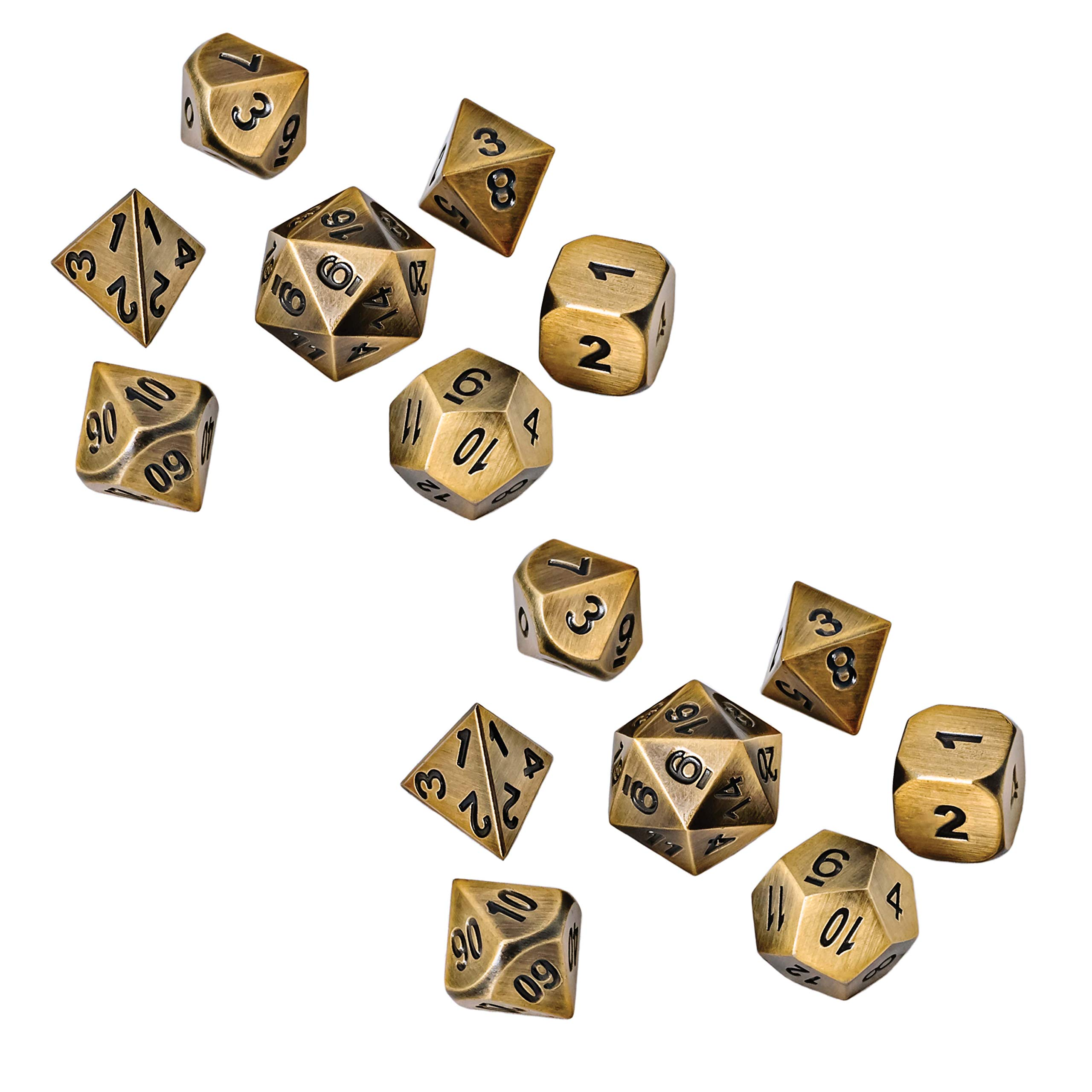 Blacksmith Craft Dice DND Dice Set - Metal Polyhedral Dungeons and Dragons Dice Sets with Dice Bag for RPG Gaming Including D20 (Glimmering Gold, 2 Pack - 14 Polyhedral w/Bag)
