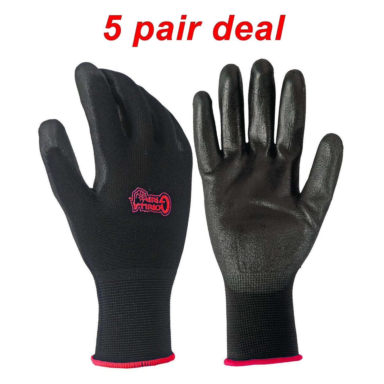 5 Pack Gorilla Grip Gloves - Medium Grease Monkey