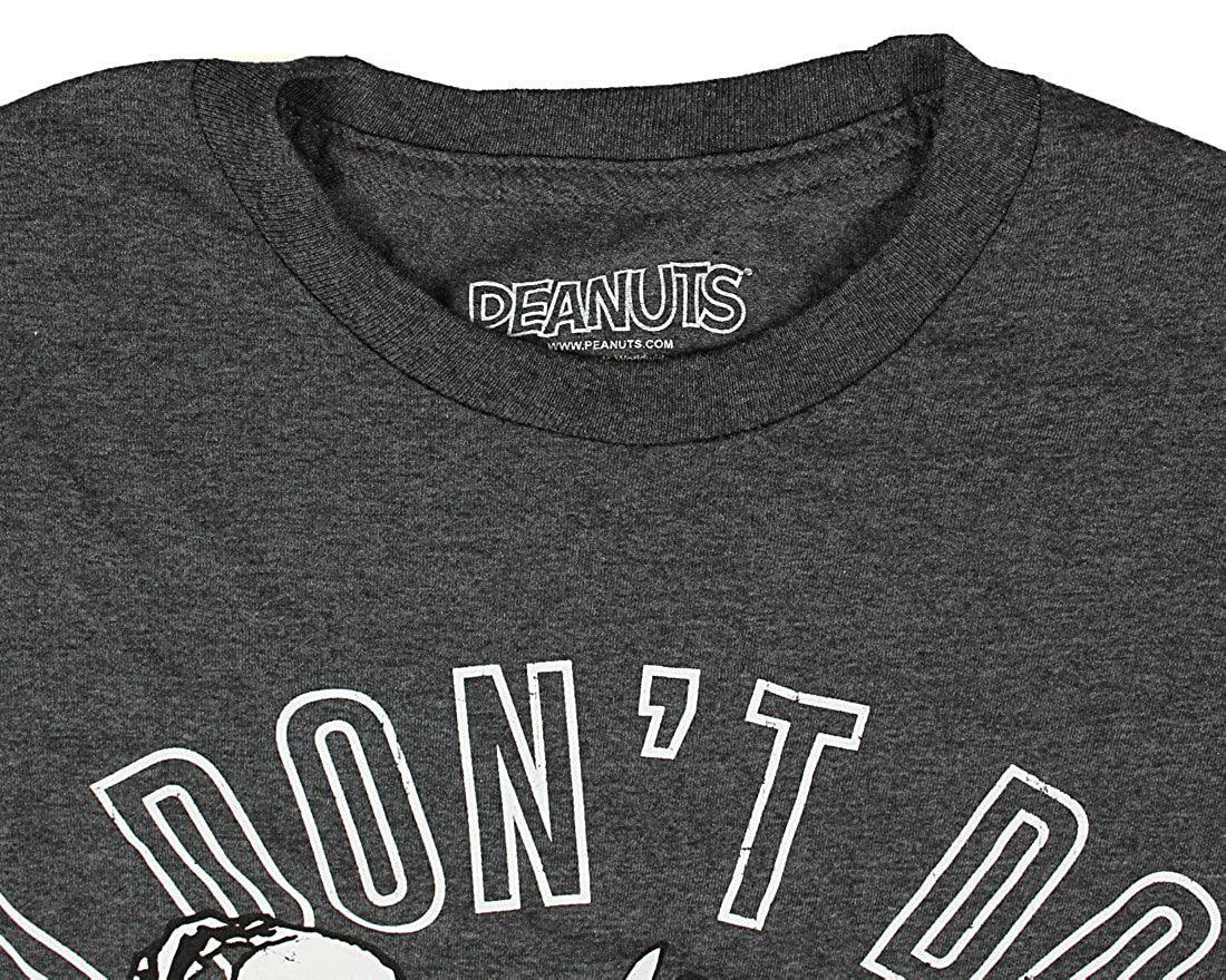 Peanuts Snoopy T-Shirt Mens I Don/'t Do Mornings Gray Cotton NEW