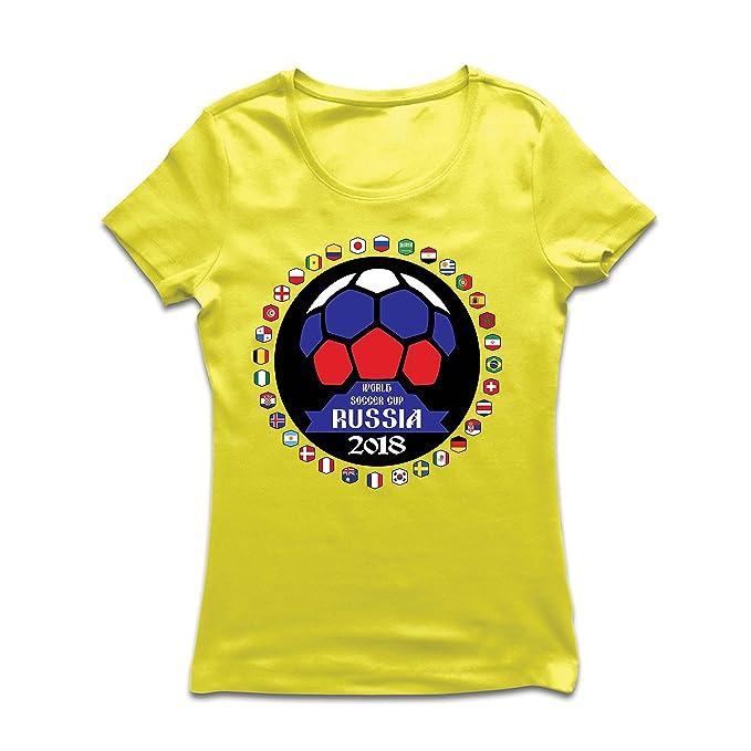 lepni.me Camiseta Mujer Las 32 Banderas del Equipo de Fútbol Nacional - Copa del