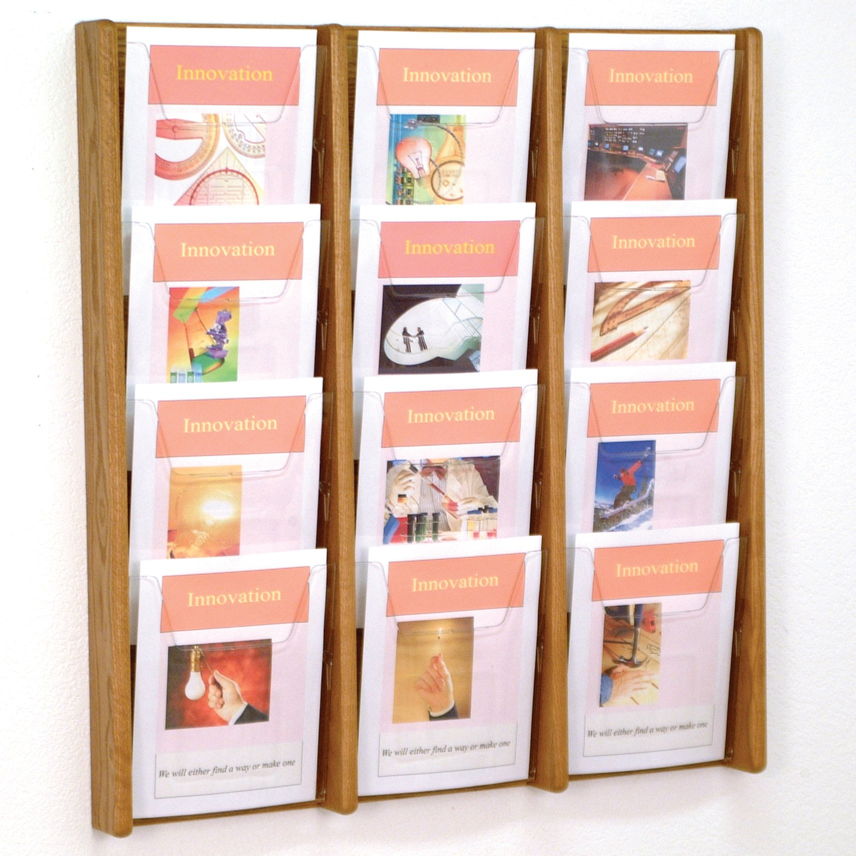 DMD Literature Display, 12 Pocket, Solid Oak and Acrylic Wall Mount Rack, Medium Oak Wood Finish by Discount Medical Depot LLC