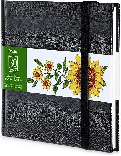 200GSM Carte da disegno lisce pesanti Quaderno per schizzi Ohuhu Art Sketchbook appositamente progettato per pennarelli alcolici 21x21cm/&21x29.7cm 78 fogli//156 pagine quaderno con copertina rigida