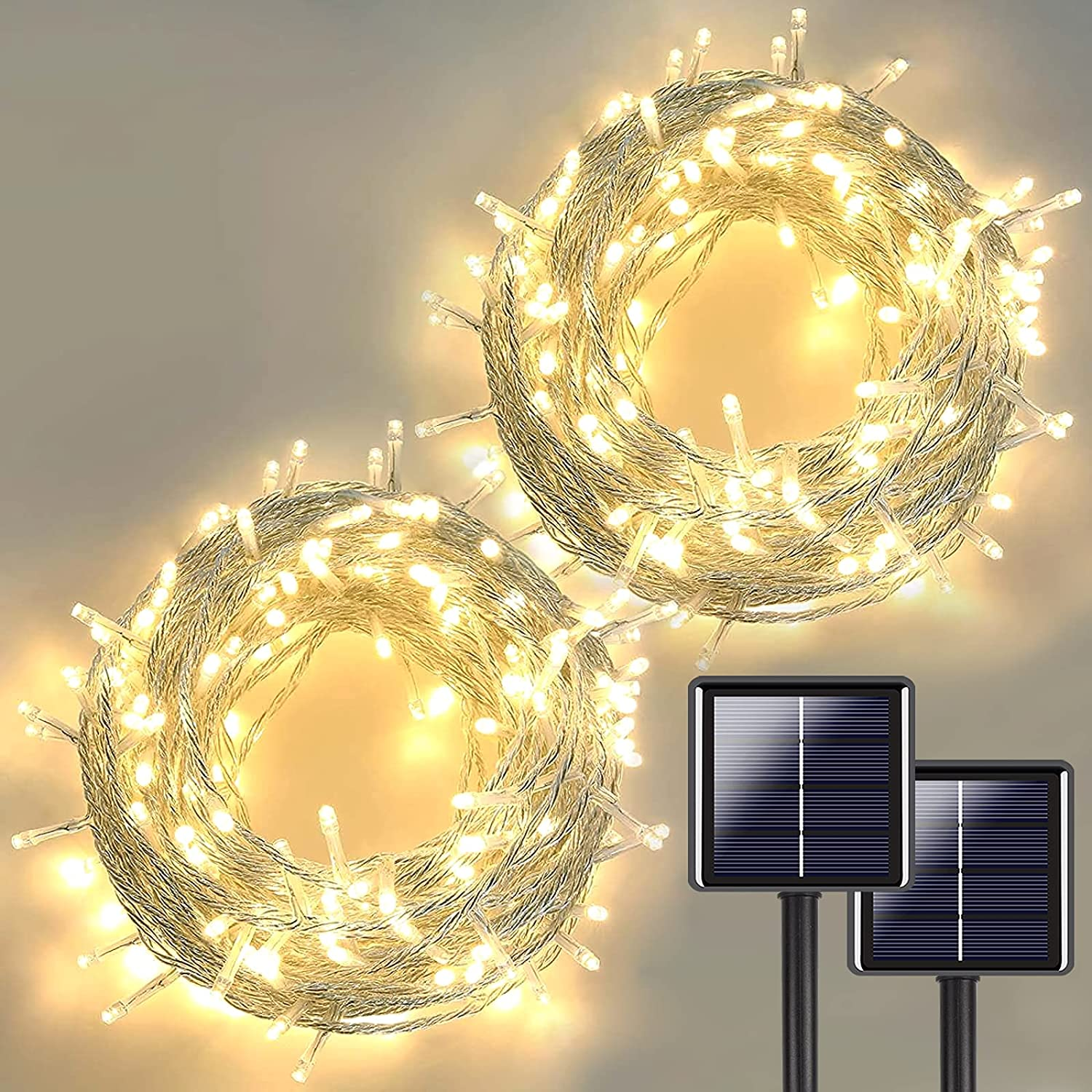 2-Pack Clear Wire Solar String Lights Outdoor, Total 75FT 200 LED Solar Lights Outdoor Decorative with 8 Lighting Modes, Solar Tree Lights for Garden Fence Wedding Christmas Party (Warm White)