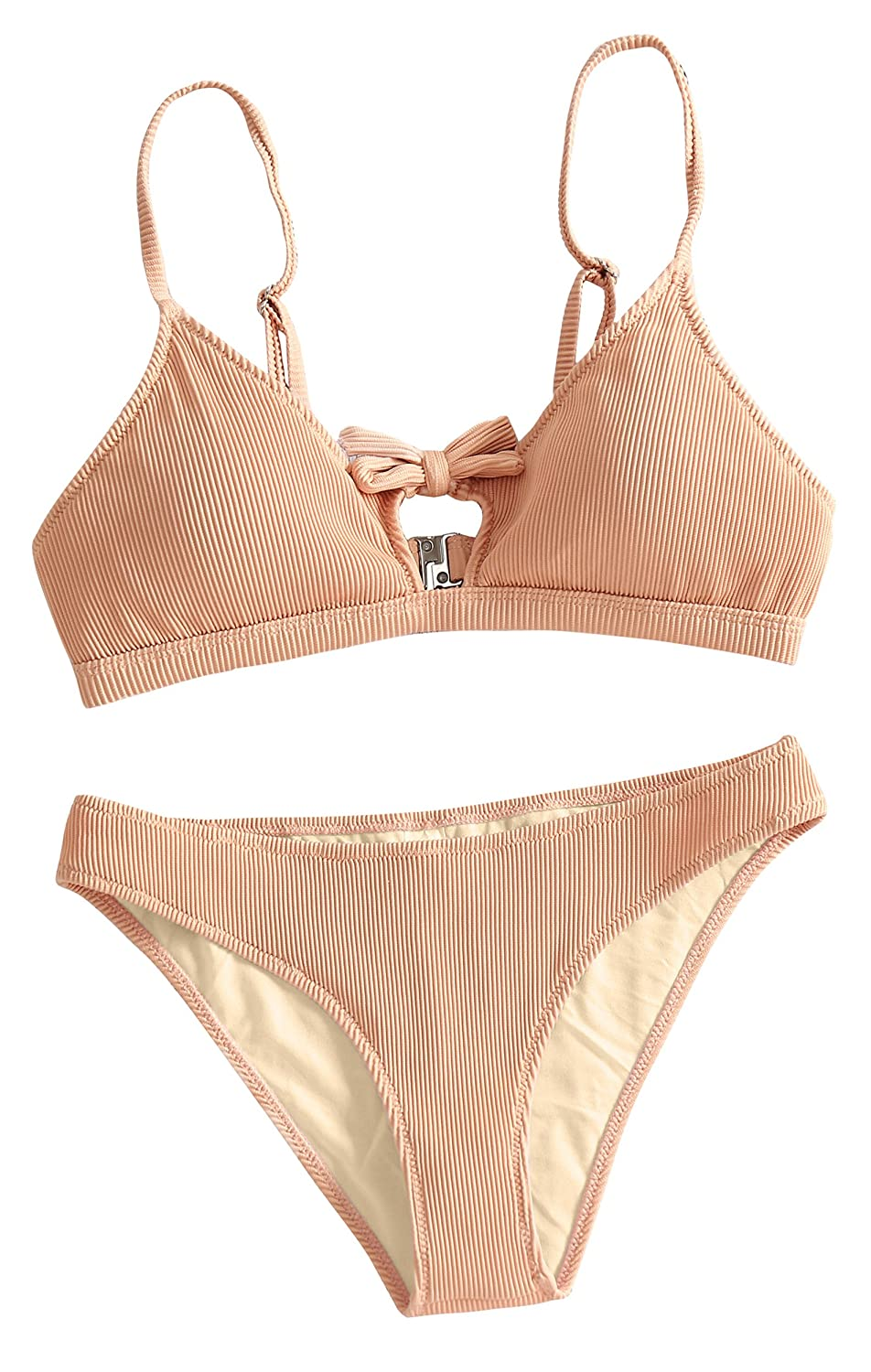 4838ef280042d Features: Paiyiku womens tie knot front high waisted thong ribbed bikini  sets, adjustable shoulder straps bikinis top with padded, hook closure.