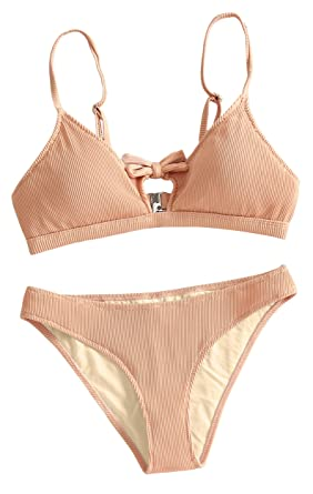 f2db68df90f Womens Tie Knot Front High Waisted Bathing Suits 2PCS Bikini Sets Beachwear  Pink Medium