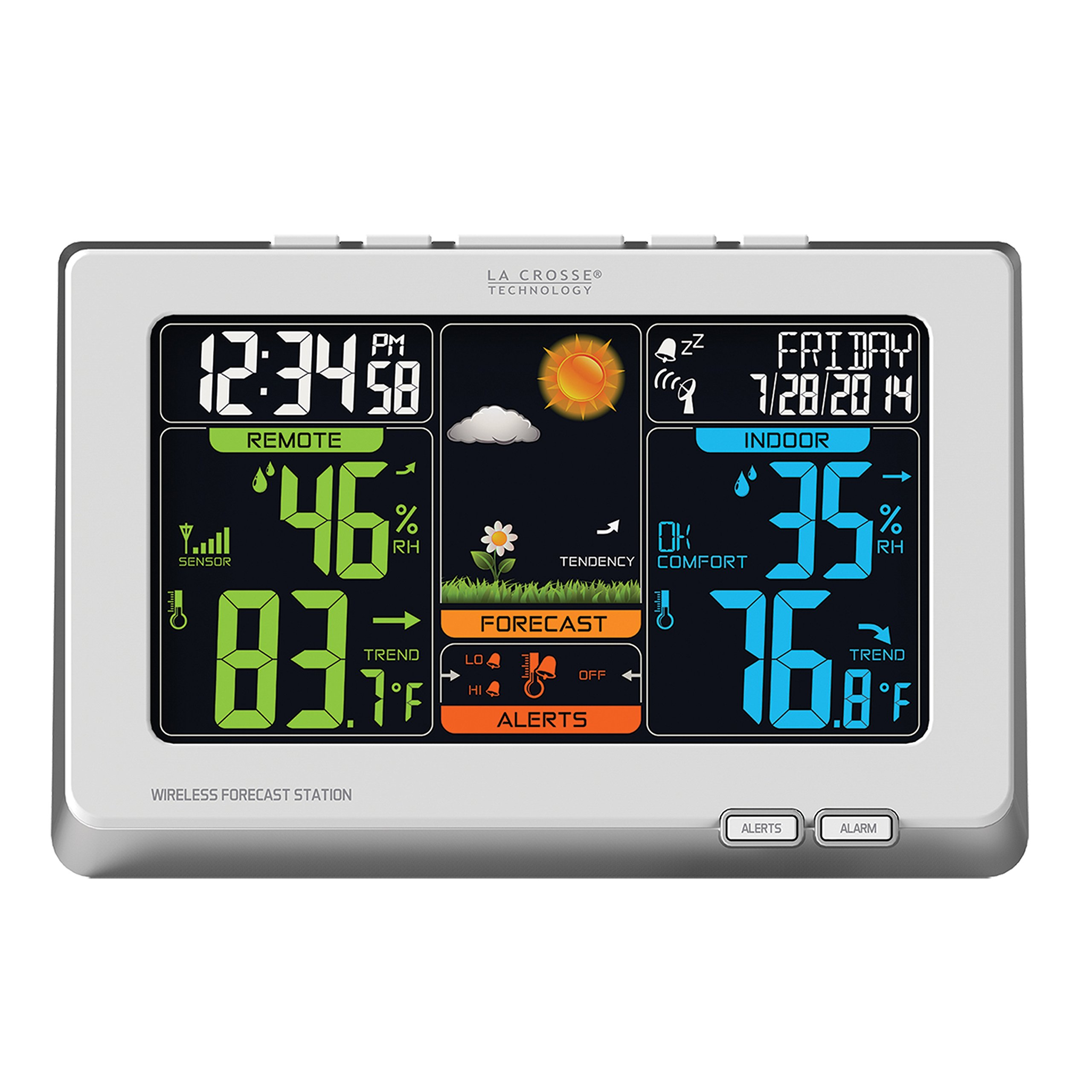 La Crosse Technology (C83332) Wireless Atomic Digital Color Weather Forecast Station with Alerts, 8.34L x 1.03W x 5.48H Inches - White