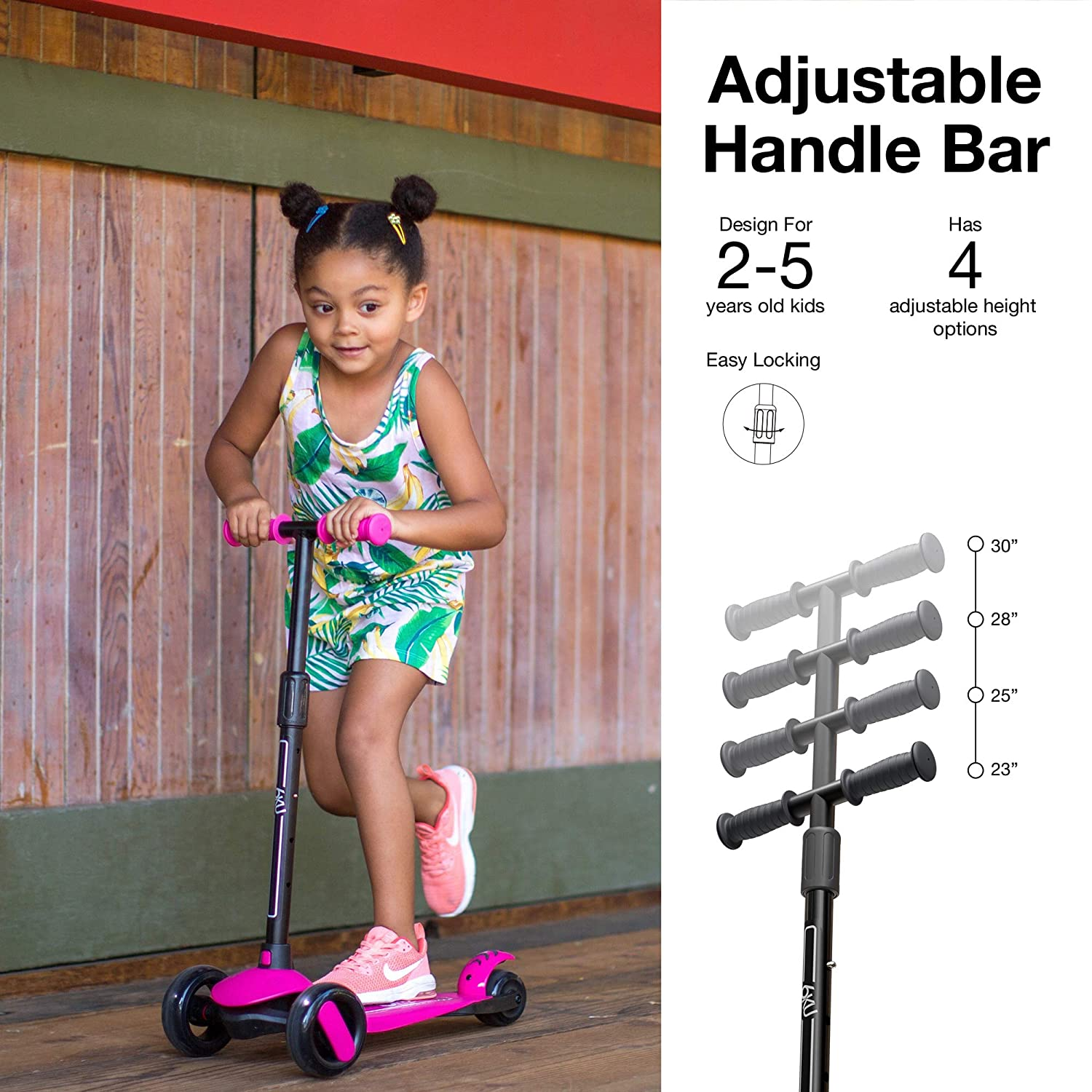 6KU 3 Wheels Kick Scooter for Kids and Toddlers Girls /& Boys Learn to Steer with Extra-Wide PU LED Flashing Wheels for Children from 2 to 5 Year-Old. Adjustable Height