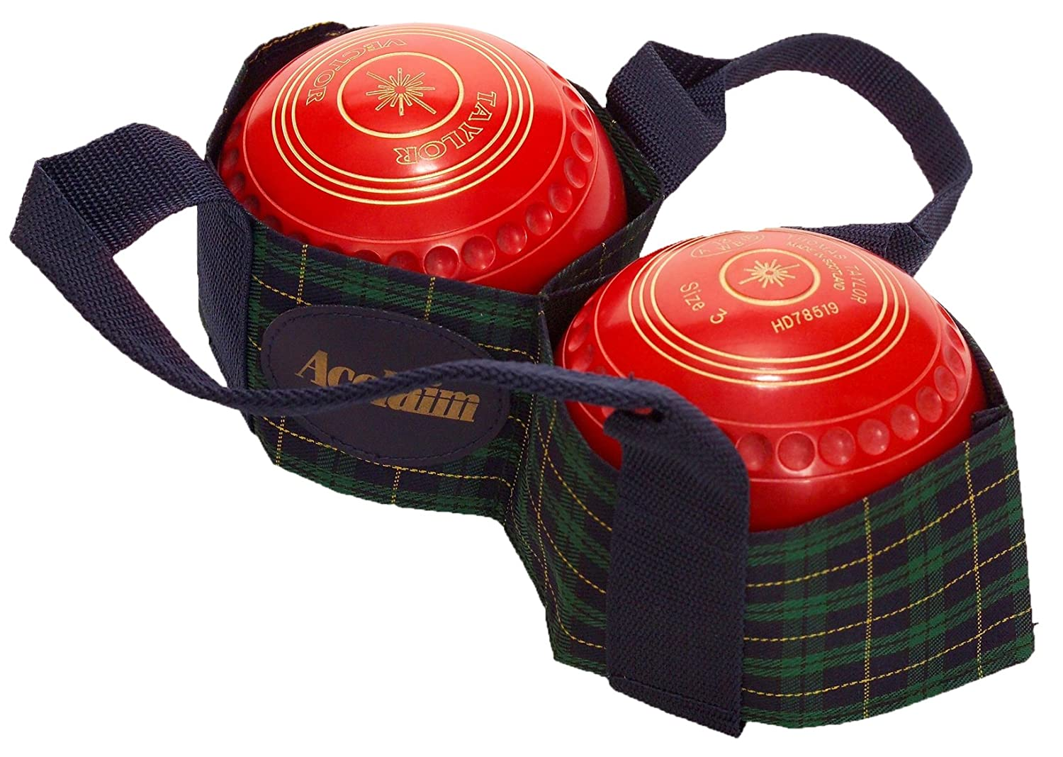 Acclaim Arran Tartan Two Bowl Level Lawn Flat Green Short Mat Bowls Carrier Red/Navy