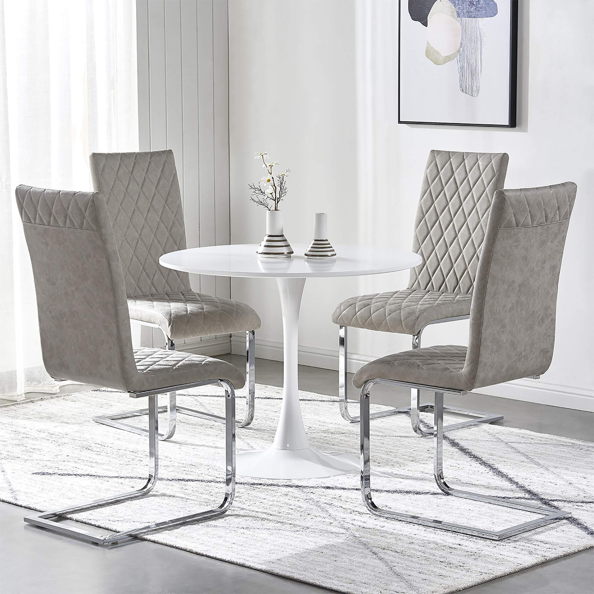 Gizza Small Round Dining Table And Chairs Set 4 White 90cm Diameter Mdf Wooden Top Metal Pedestal Light Grey Distressed Faux Leather Dining Chairs With Chrome Leg Space Saving For Kitchen Living Room Buy