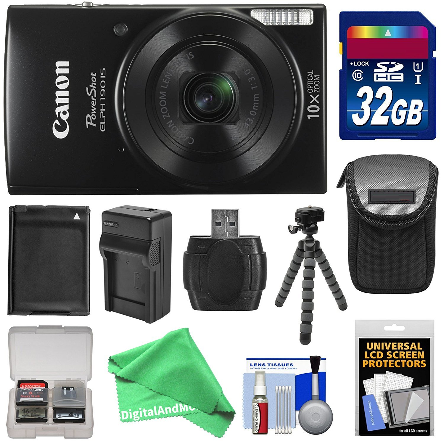 Canon PowerShot Elph 190 IS Wi-Fi Digital Camera (Black) with 32GB Card + Case + Battery & Charger + Flex Tripod + ULTIMATE DigitalAndMore Kit for ELPH 190
