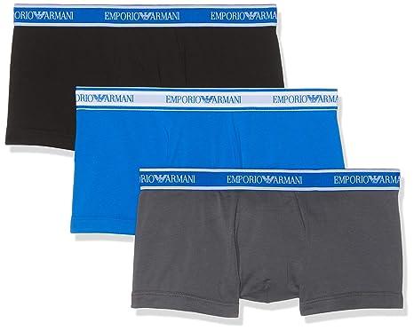 f672258555ba Emporio Armani Men's Core Logoband 3-Pack Trunk, Anthracite/Black/Wave,