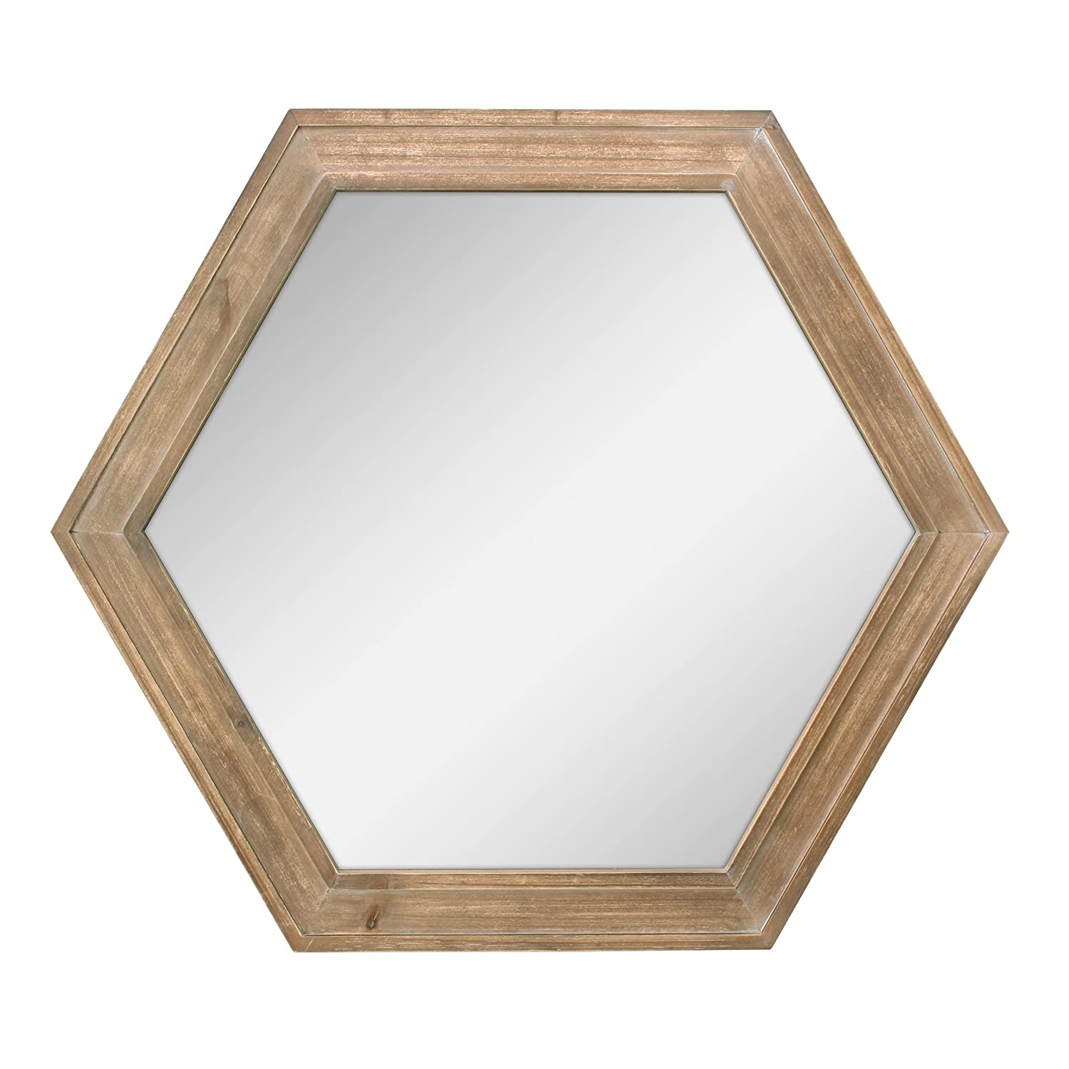 "Stonebriar Decorative 24"" Hexagon Hanging Wall Mirror with Natural Wood Frame and Attached Hanging Bracket, Rustic Farmhouse Decor for the Living Room, Bathroom, Bedroom, and Entryway"