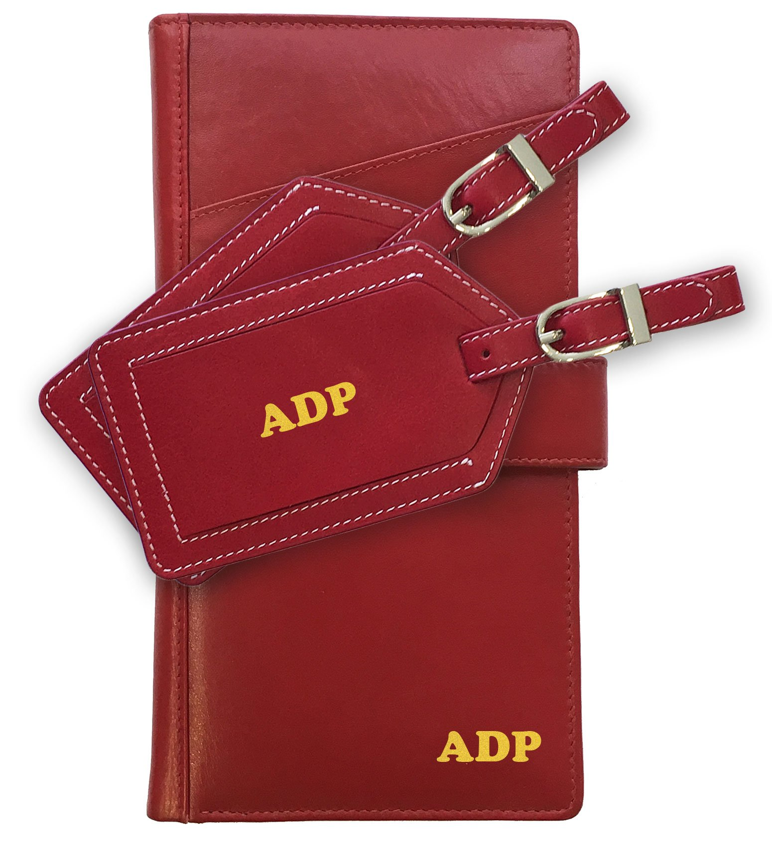 Personalized Monogrammed Red Leather RFID Travel Wallet and 2 Luggage Tags