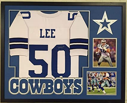 on sale ae3dd 5e954 FRAMED SEAN LEE AUTOGRAPHED SIGNED DALLAS COWBOYS JERSEY JSA ...