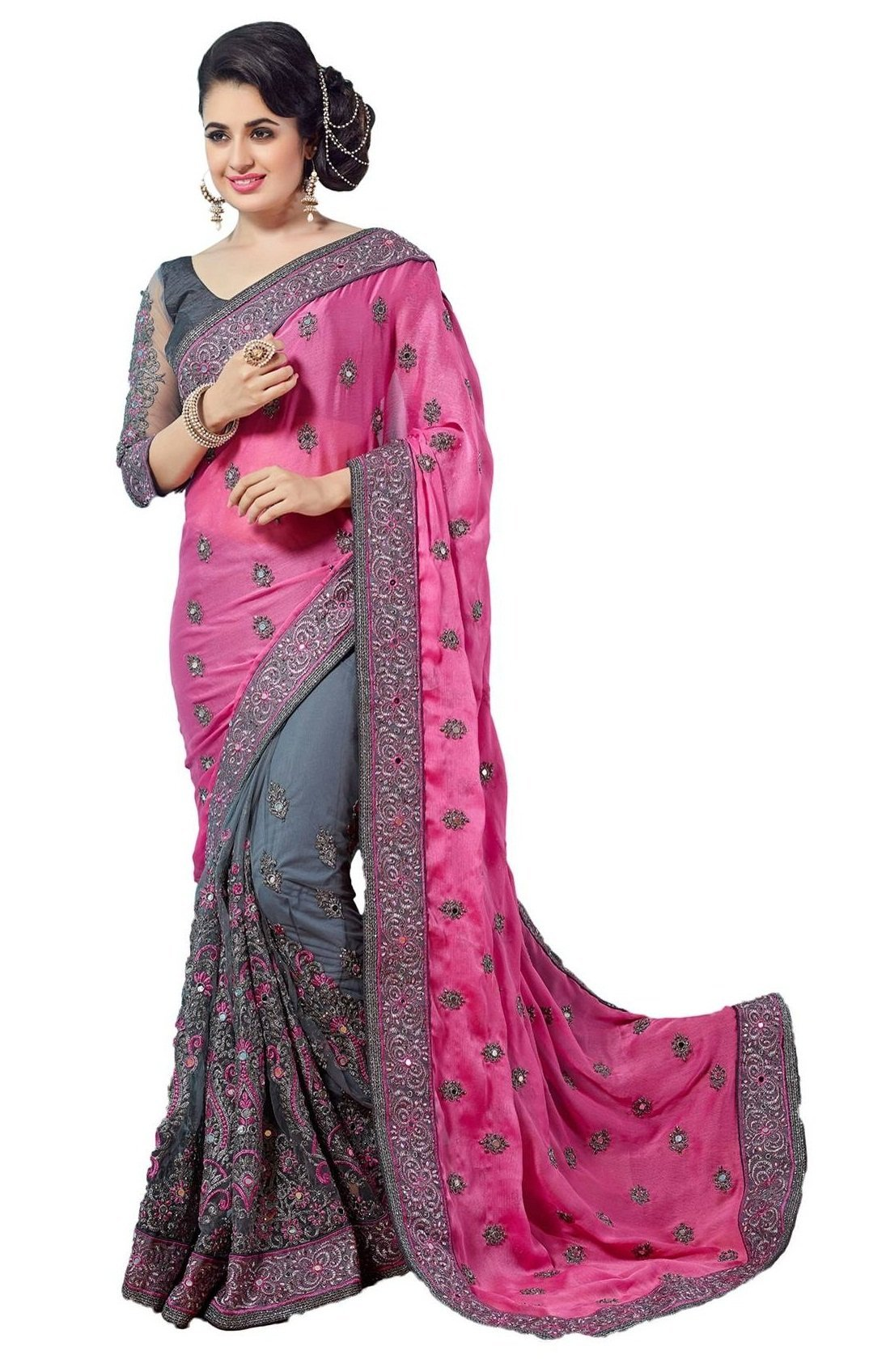 Nivah Fashion Women's Sattin Net Embroidery With Real Diamond's Sari Free Size Pink...K608A