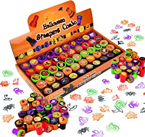 50 Pieces Halloween Assorted Stamps Kids Self-Ink Stamps (25 DIFFERENT Designs, Plastic Stamps, Trick Or Treat Stamps, Spooky Stamps) for Halloween Party Favors, Game Prizes, Halloween Goodies Bags