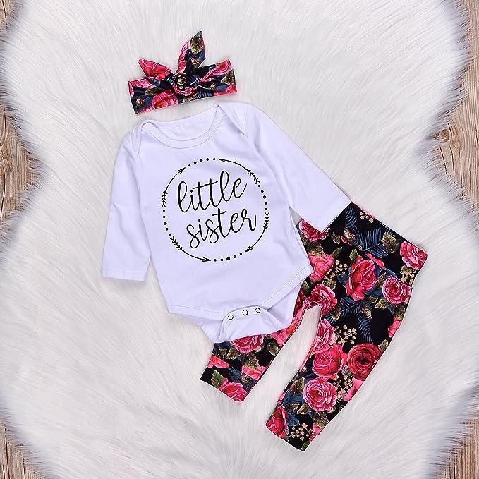 Borlai Little Sister Floral Strampler M/ädchen Langarm Warm Onesies Kapuzenpullover Bodysuit Jumpsuit 0-24 Monate