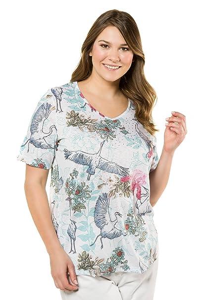 6084ffc912e Ulla Popken Women s Plus Size Crane   Flowers Print Tee Multi 12 14 716606  90
