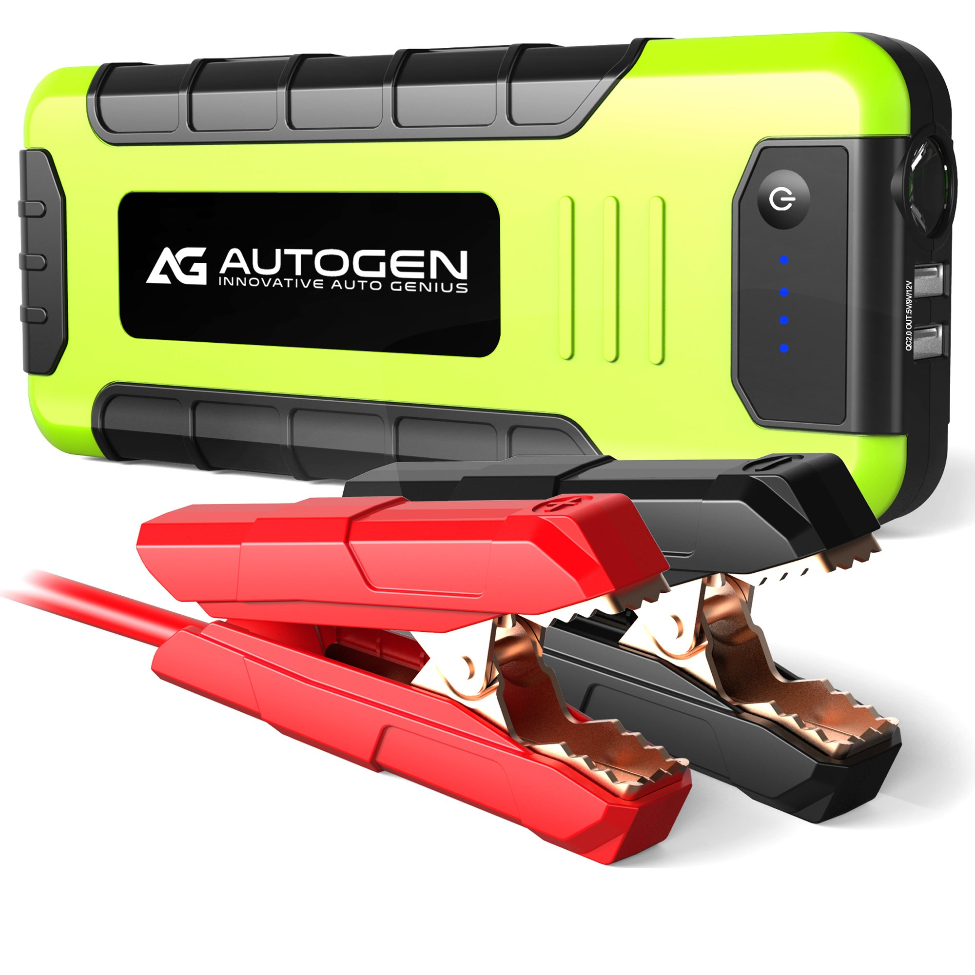 AUTOGEN 2000A Peak Portable Jump Starter for Vehicles (up to 8.0L Gas or 6.5L Diesel) & Quick Charge 3.0 Power Charger, with Mistake-Proof Intelligent Clamps for Cars Boats RVs & Mowers by AUTOGEN (Image #1)