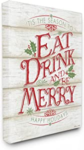 Stupell Industries Eat Drink and Be Merry Canvas Wall Art, 24 x 30, Multi-Color