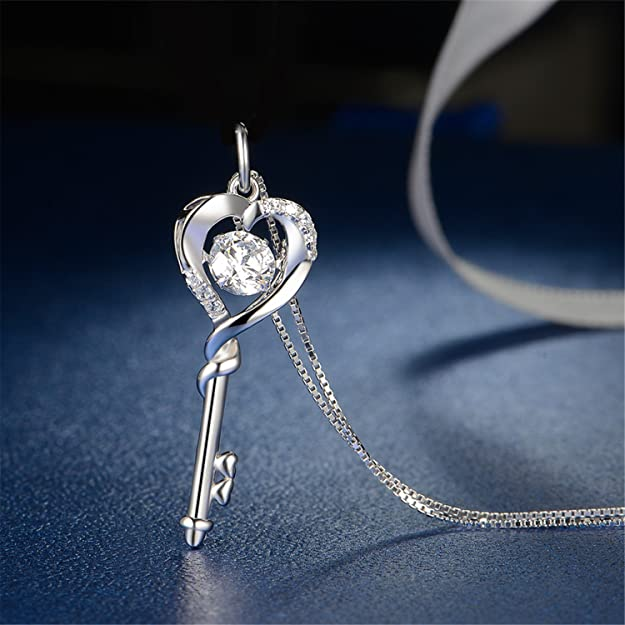 a37d3587f Amazon.com: MABELLA Dancing CZ Key to Heart Sterling Silver Key Pendant  Necklace, for Women: Jewelry