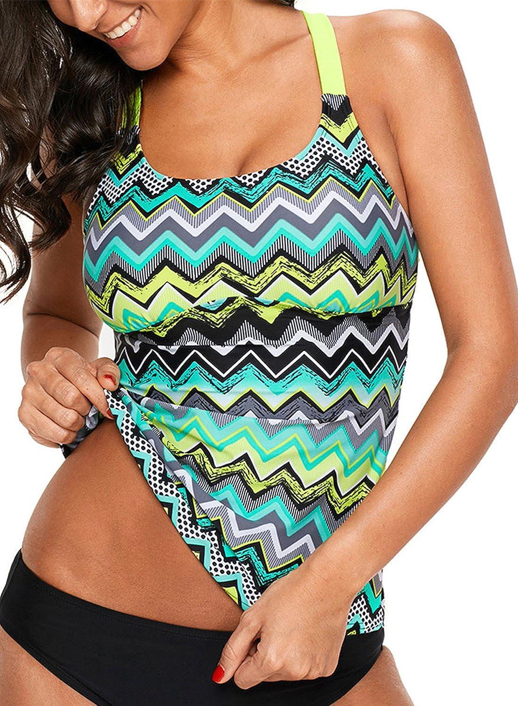 Aleumdr Womens Striped Printed Strappy Racerback Tankini Swim Top No Bottom S - XXXL AL410604
