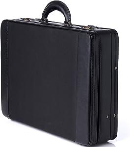 Alpine Swiss Expandable Attache Case Dual Combination Lock Hard Side Briefcase Black