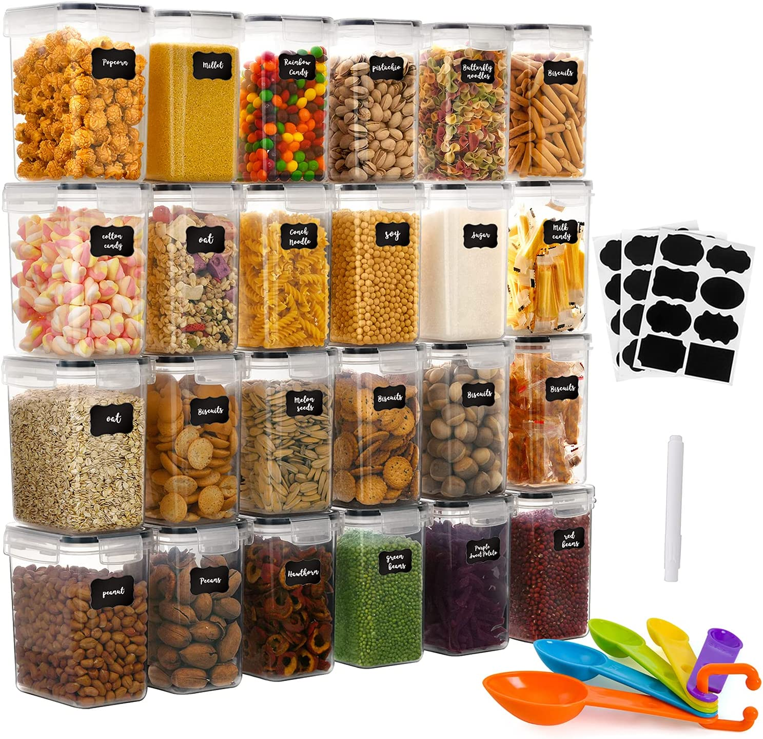 GoMaihe 1.6L Food Storage Containers 24 Pcs, Plastic Food Storage Containers with lids Airtight, Cereal Containers Storage set Suitable, Cereal Kitchen Pantry Organization and Storage, Black