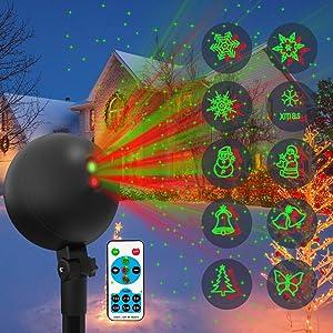 Christmas Lights Projector Laser Light Xmas Spotlight Projectors Waterproof Outdoor Landscape Spotlights for Holiday Halloween Yard Decorations (Multi-Colored)